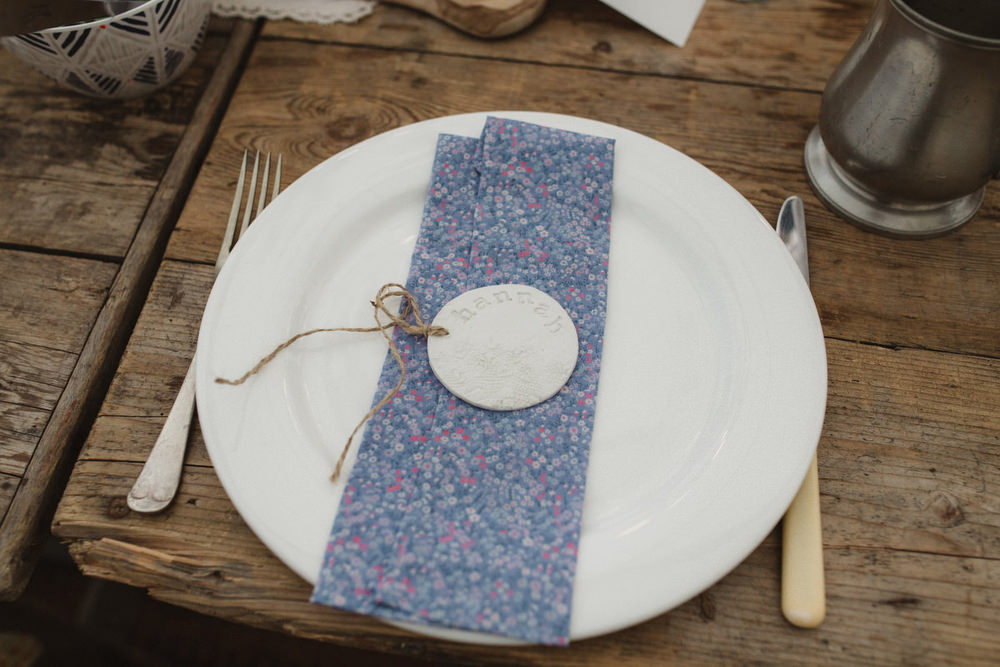 Place Setting Floral Napkin Name Card Dried Flowers Wedding Emily Tyler Photography