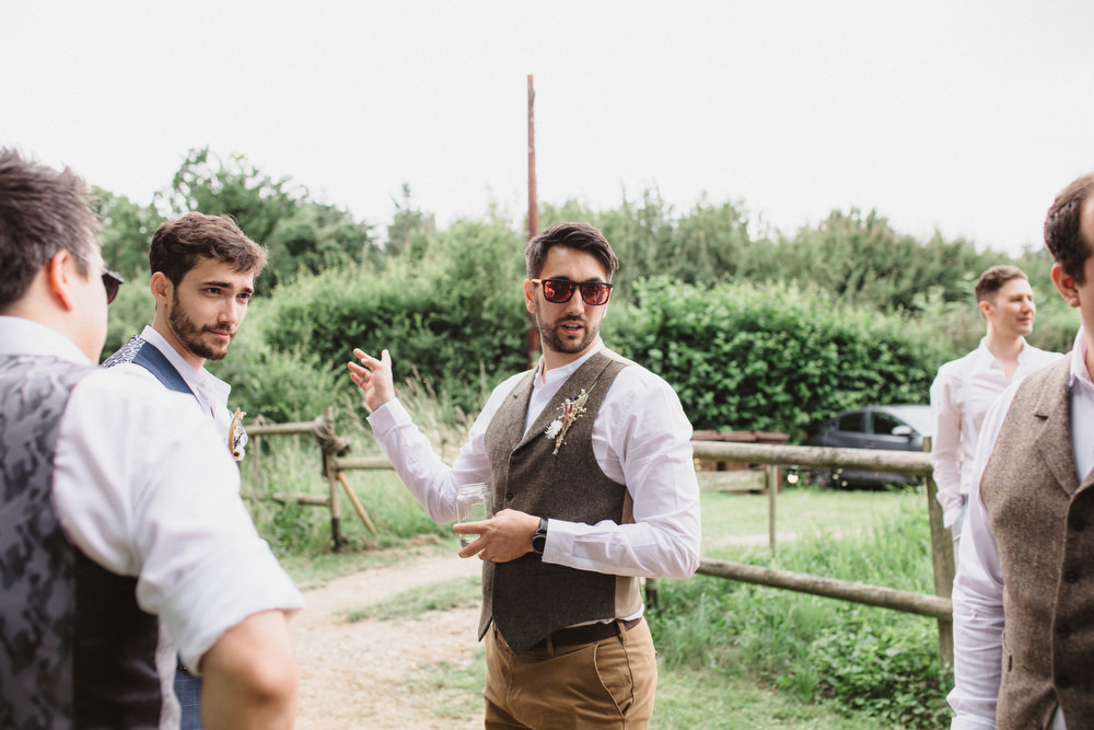 Groom Waistcoat Chinos Dried Flowers Wedding Emily Tyler Photography