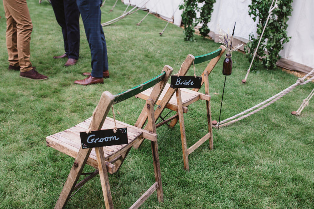 Wooden Chairs Chalk Signs Signage Dried Flowers Wedding Emily Tyler Photography