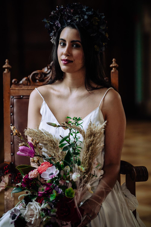 Bride Bridal Hydrangea Flower Crown Headdress Dutch Art Wedding Ideas Berni Palumbo Photography