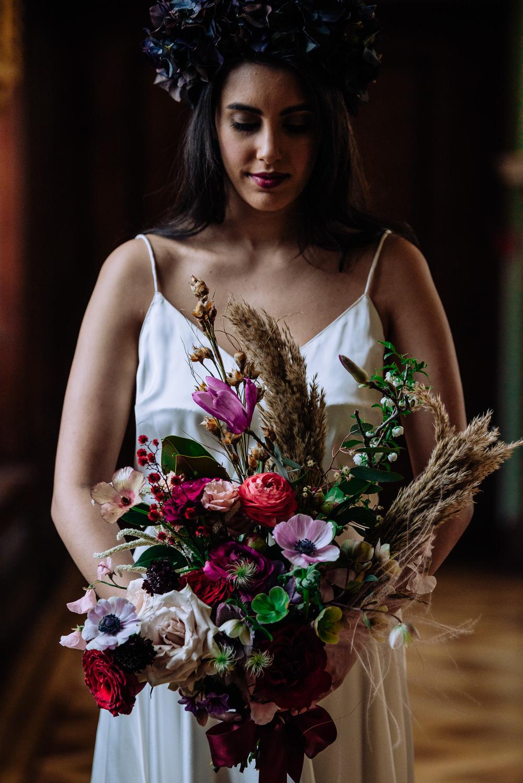 Bouquet Flowers Bride Bridal Jewel Tone Pampas Grass Rose Anemone Dutch Art Wedding Ideas Berni Palumbo Photography