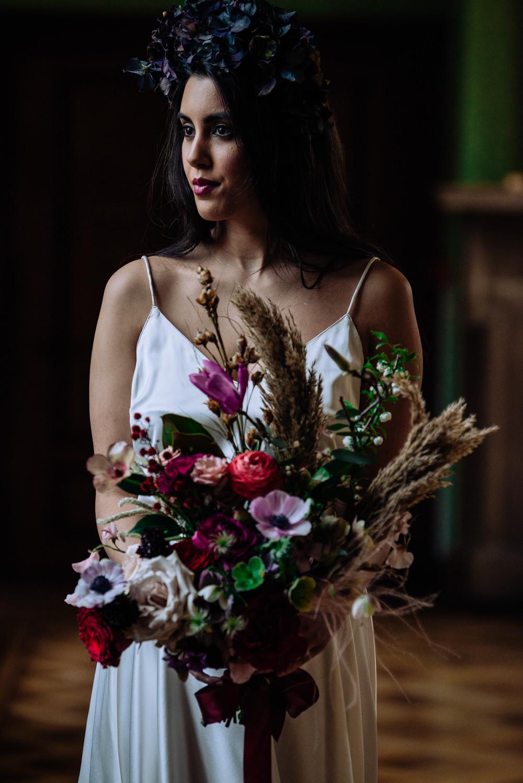Deep Red Wedding Bridal Bouquet Burgundy White Greenery Real