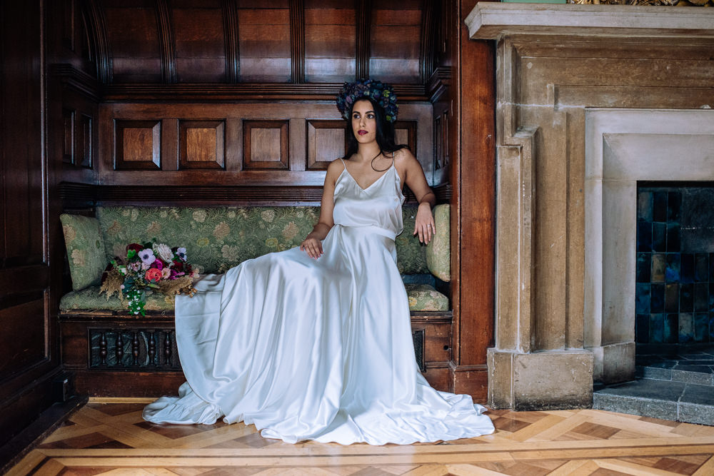 Bride Bridal Dress Gown Separates Top Skirt Silk Satin Flowing Train Dutch Art Wedding Ideas Berni Palumbo Photography