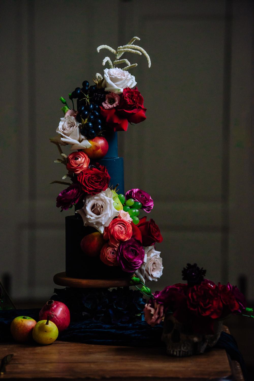 Cake Black Flowers Fruit Skull Opulent Luxe Dutch Art Wedding Ideas Berni Palumbo Photography