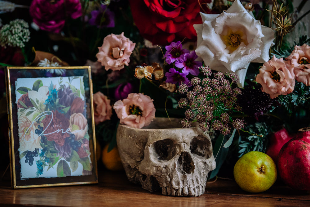Skull Flowers Decor Dutch Art Wedding Ideas Berni Palumbo Photography