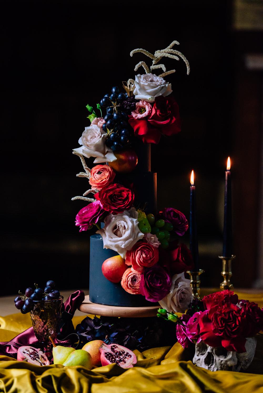 Cake Black Flowers Fruit Skull Opulent Luxe Candles Dutch Art Wedding Ideas Berni Palumbo Photography
