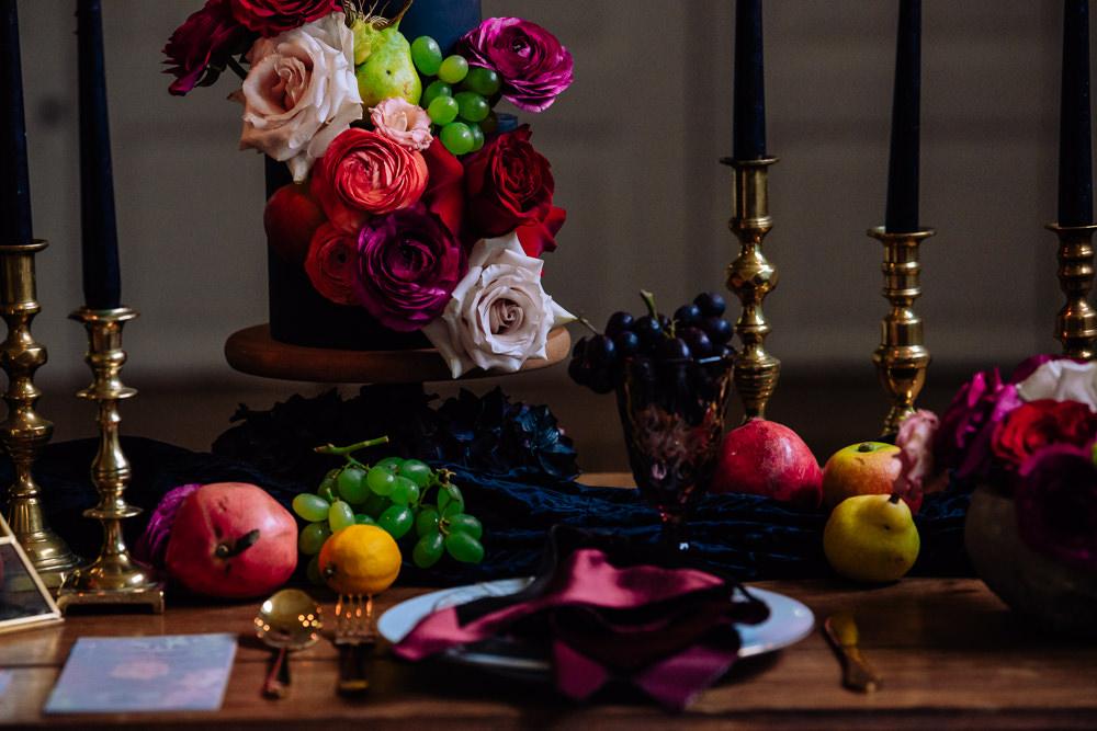 Table Tablescape Decor Decoration Candles Flowers Luxe Gold Terrarium Fruit Dutch Art Wedding Ideas Berni Palumbo Photography