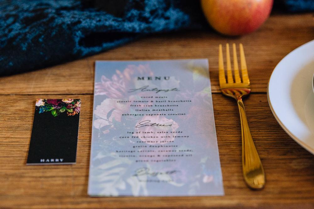 Menu Stationery Place Setting Gold Cutlery Dutch Art Wedding Ideas Berni Palumbo Photography