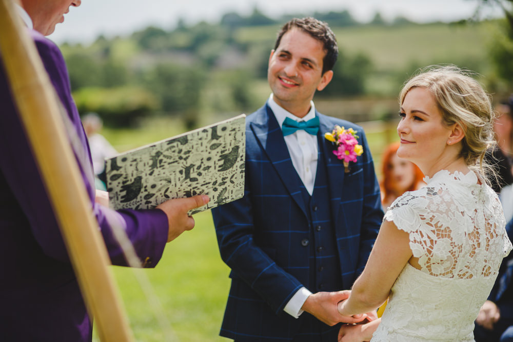 Bride Bridal High Neck Cap Sleeve Lace Fitted Dress Gown Bow Tie Waistcoat Groom East Keswick Village Hall Wedding James & Lianne Wedding Photography
