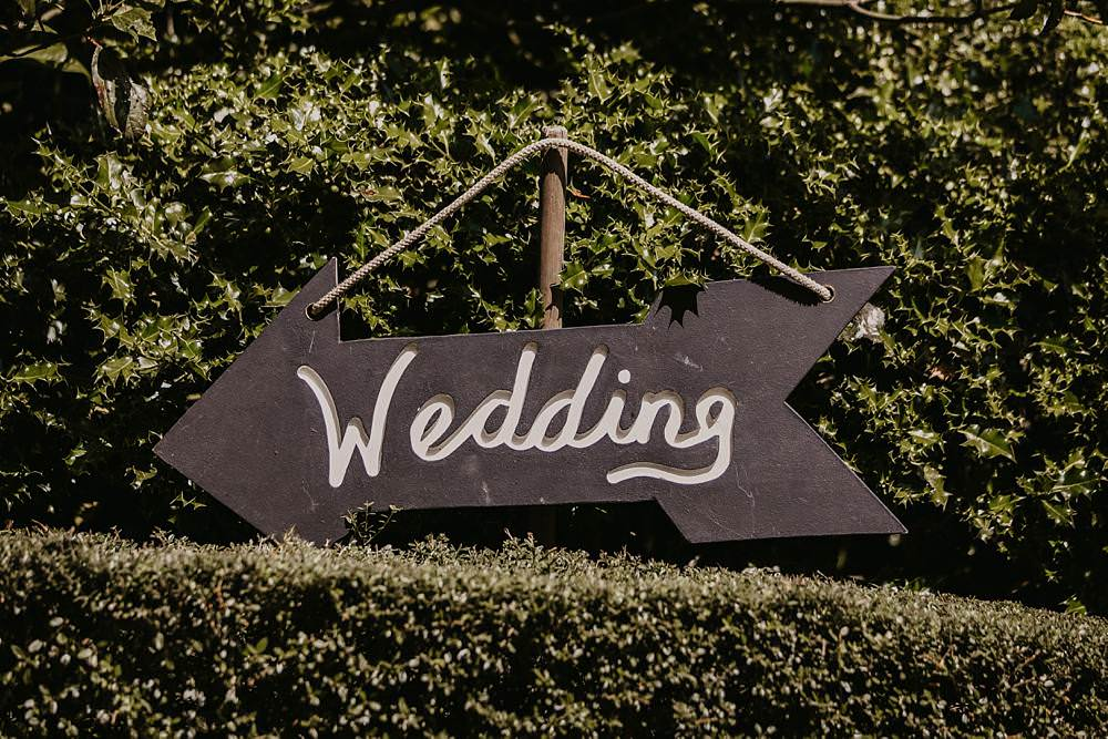 Chalk Black Board Sign Signage Signpost Eggington House Wedding October Willis Photography