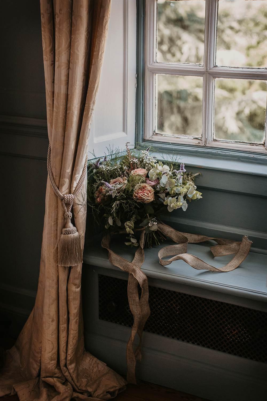Bouquet Flowers Bride Bridal Greenery Foliage Ribbon Rose Dusky Pink Eucalyptus Eggington House Wedding October Willis Photography