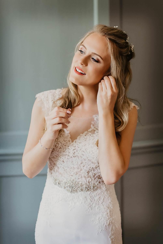 Bride Bridal Hair Make Up Eggington House Wedding October Willis Photography