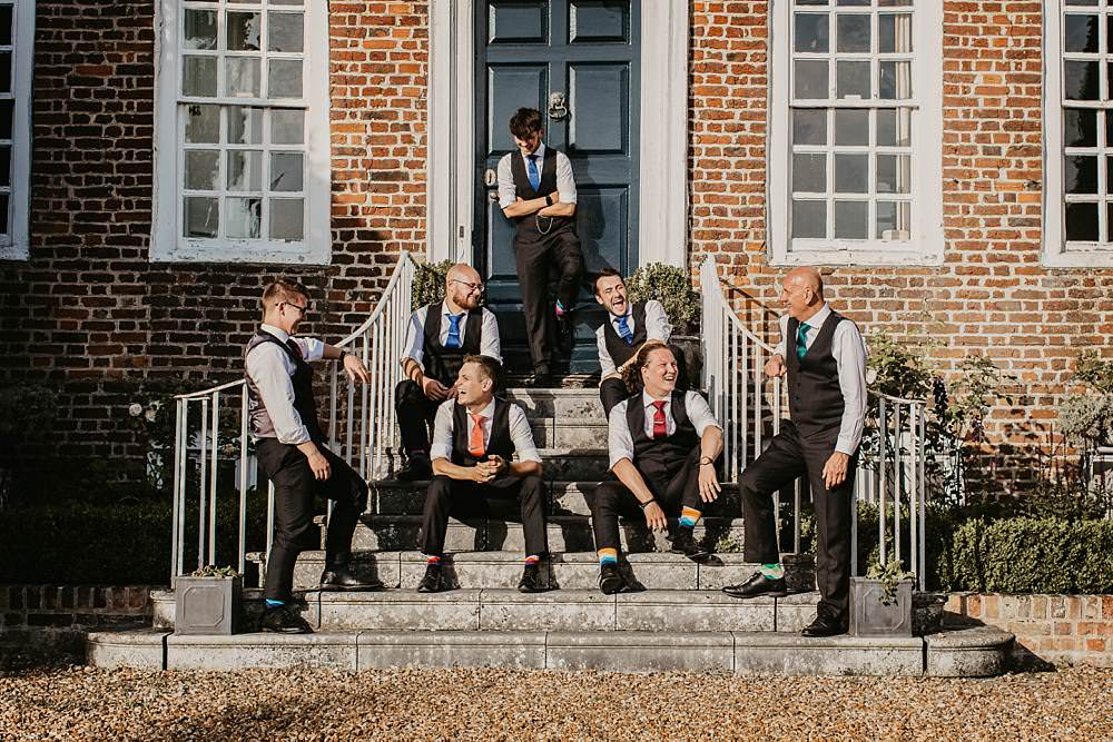 Groom Groomsmen Suits Waistcoats Ties Colourful Eggington House Wedding October Willis Photography