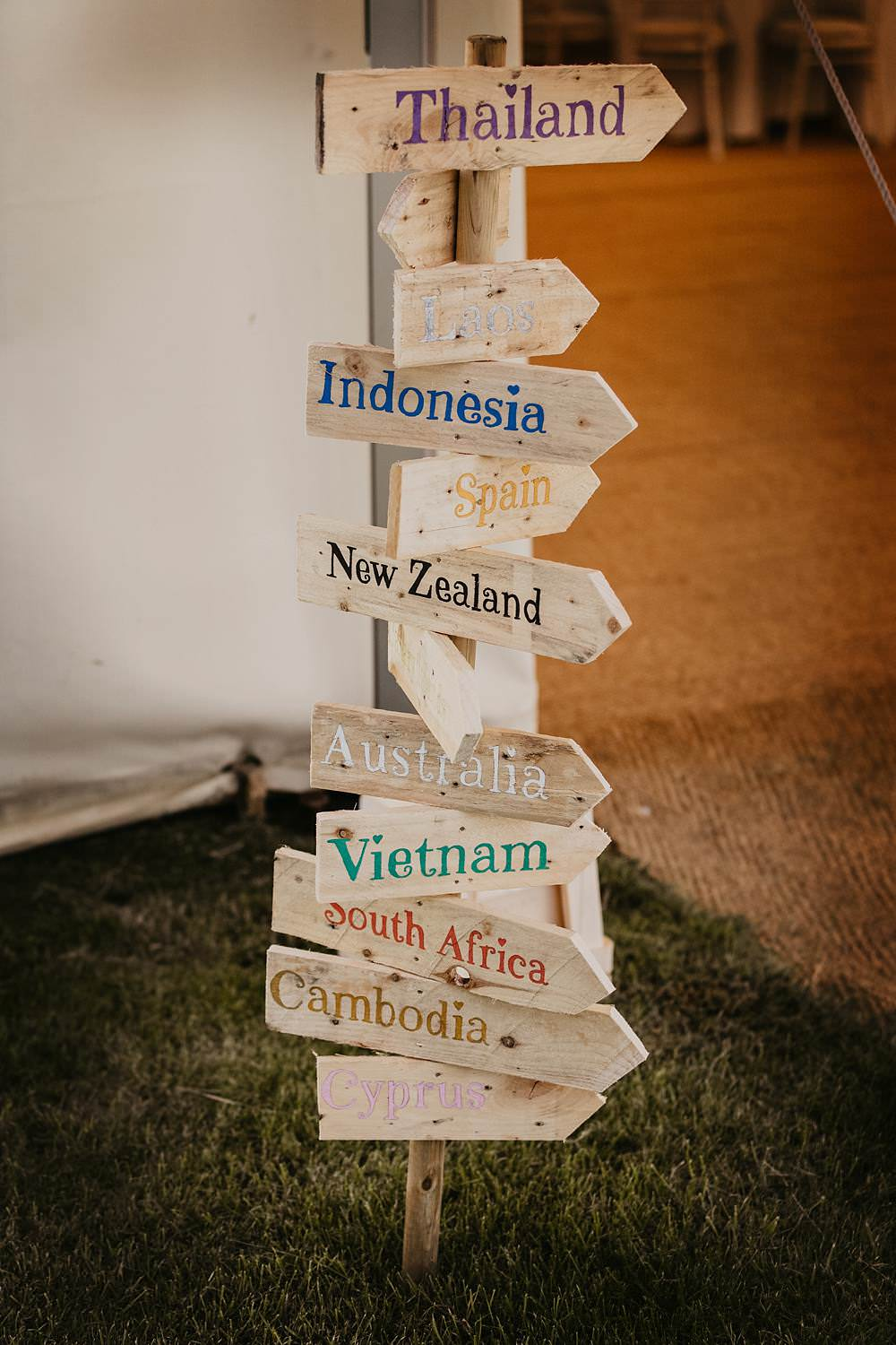 Wooden Signpost Signs Sign Signage Eggington House Wedding October Willis Photography