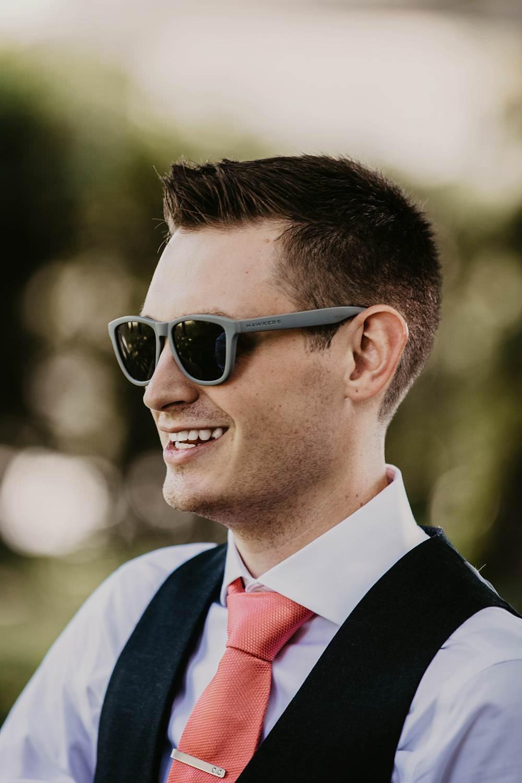 Groom Sunglasses Eggington House Wedding October Willis Photography
