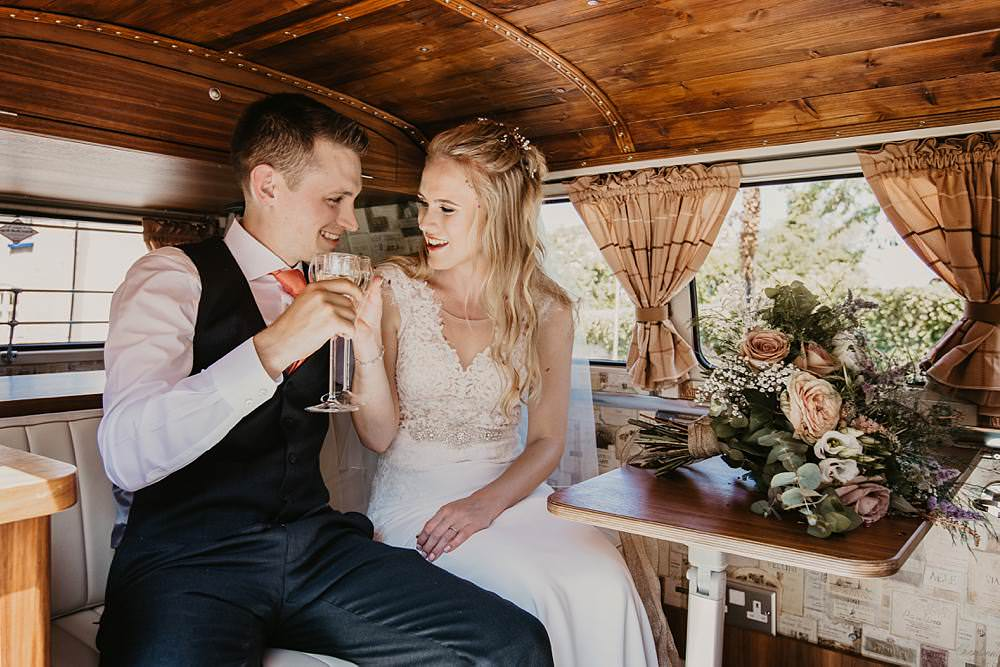 VW Campervan Transport Eggington House Wedding October Willis Photography