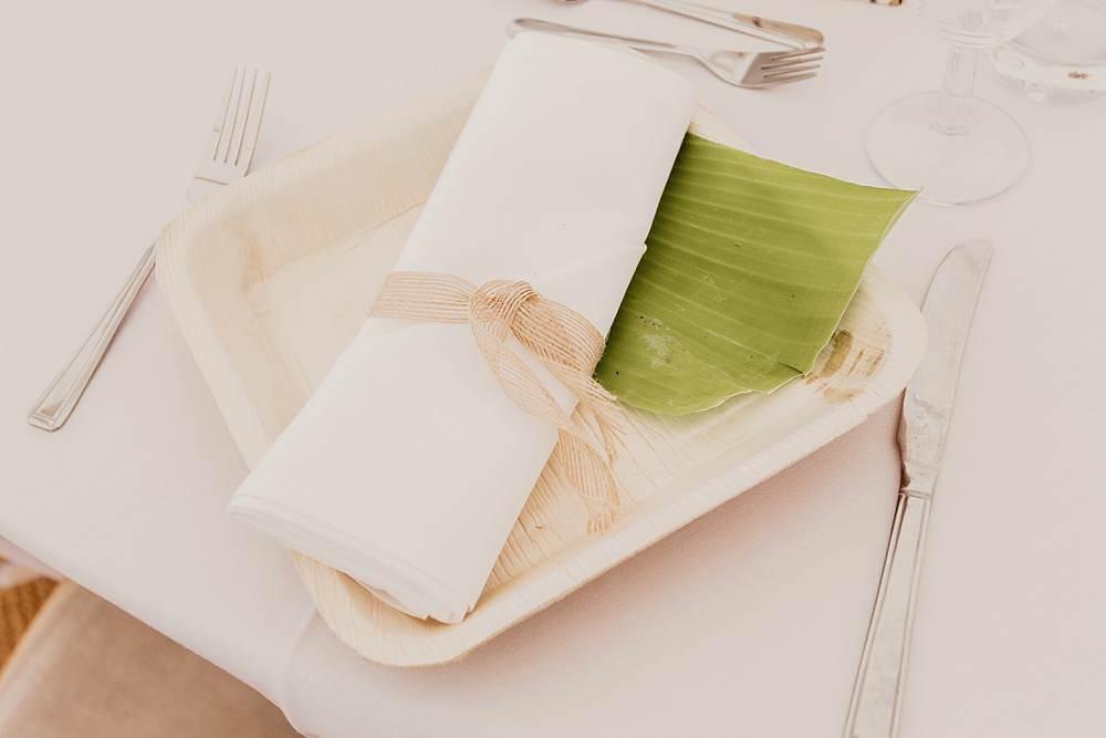 Eco Friendly Plates Napkin Leaf Eggington House Wedding October Willis Photography