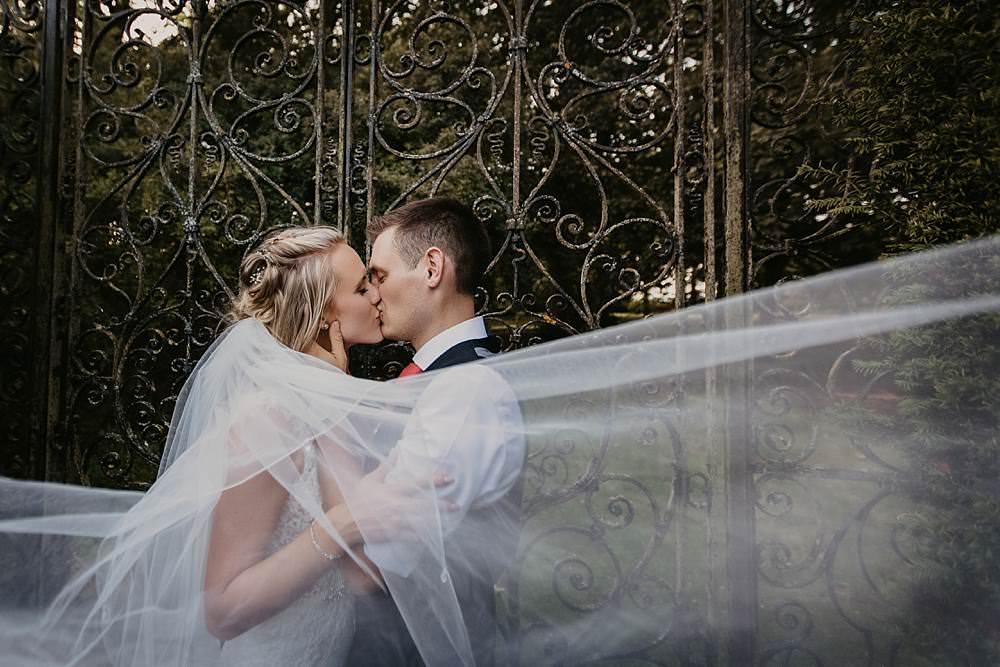 Bride Bridal Veil Eggington House Wedding October Willis Photography