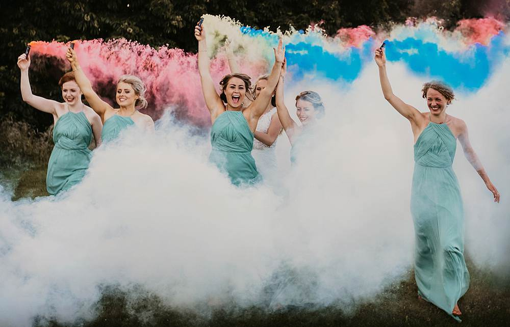 Smoke Bombs Photo Photographs Bridesmaids Bridesmaid Dress Dresses Sage Green Bouquets Greenery Foliage Eggington House Wedding October Willis Photography