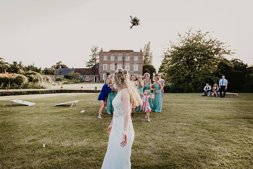Bouquet Toss Throw Eggington House Wedding October Willis Photography
