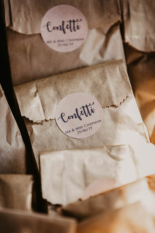 Confetti Bags Petals Eggington House Wedding October Willis Photography