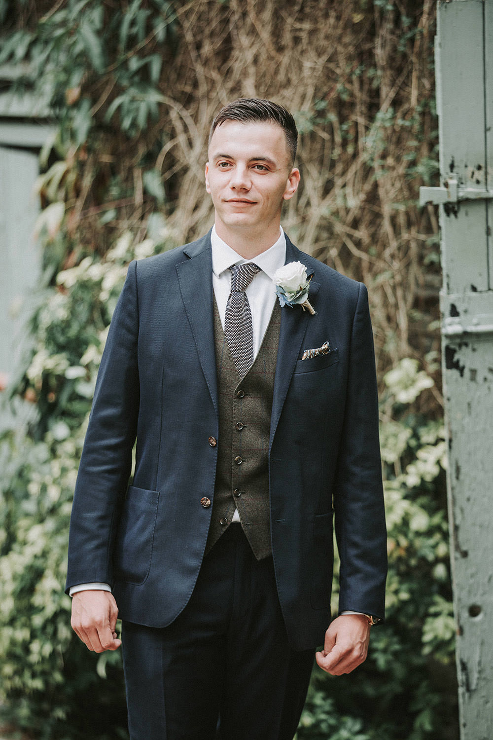 Groom Suit Navy Blue Waistcoat Green Knitted Tie Groomsmen Ever After Wedding Younger Photography