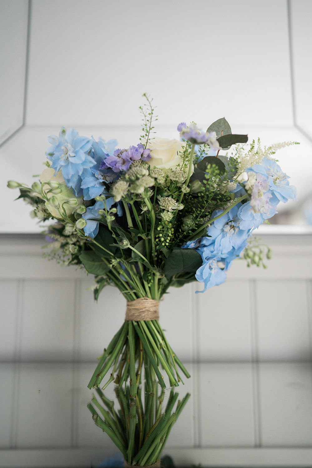 Bouquet Flowers Bride Bridal Blue Astilbe Delphiniums Roses Scabious Thaspi Eucalyptus Ever After Wedding Younger Photography