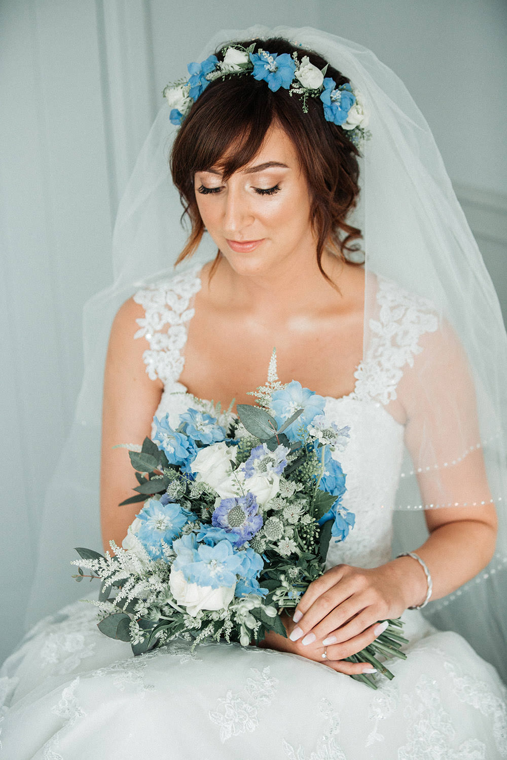 Make Up Flower Crown Bouquet Flowers Bride Bridal Blue Astilbe Delphiniums Roses Scabious Thaspi Eucalyptus Ever After Wedding Younger Photography