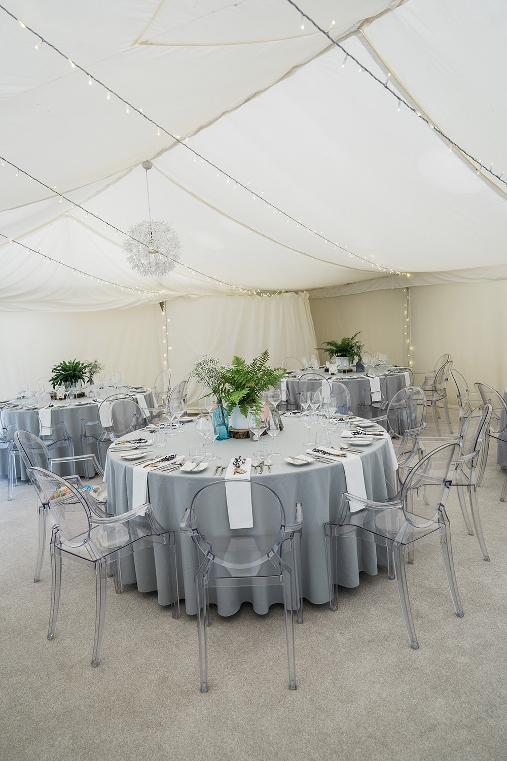 Marquee Fairy Lights Grey Table Cloths Ghost Chairs Perspex Ever After Wedding Younger Photography
