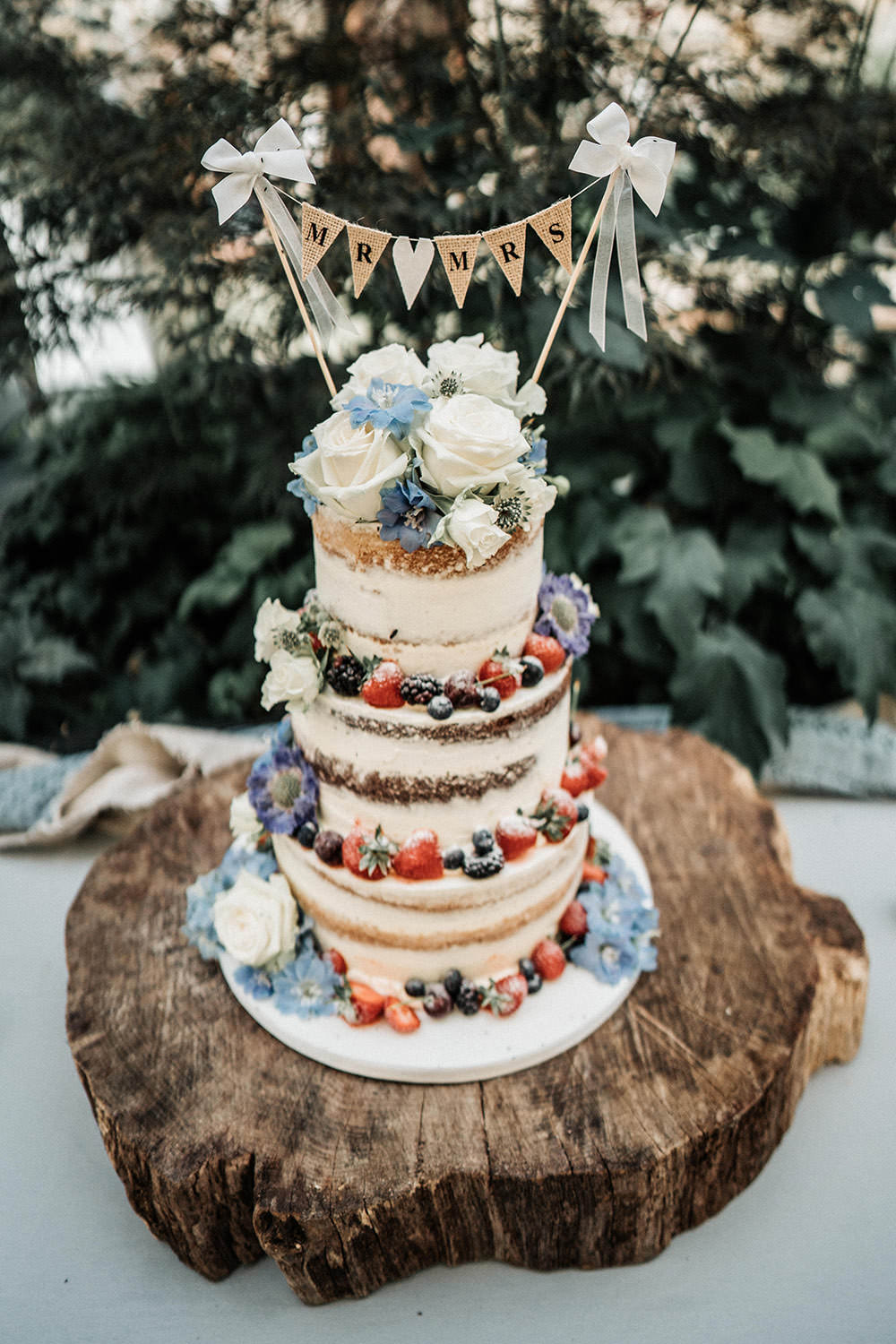 Semi Naked Cake Buttercream Fruit Berries Bunting Topper Layer Log Stand Ever After Wedding Younger Photography