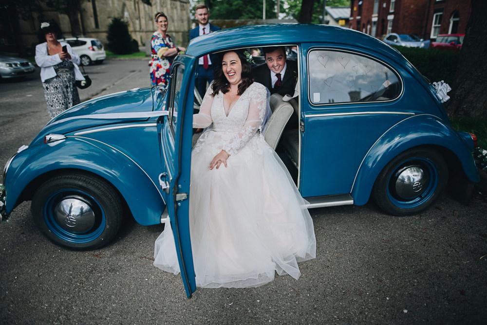 Bride Bridal V Neck Lace Tule A Line Skirt Long Sleeve Greenery Flower Crown Tweed Suit Groom VW Beetle Fairfield Social Club Wedding The Pin Up Bride