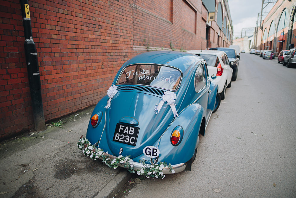 VW Beetle Just Married Greenery Garland Fairfield Social Club Wedding The Pin Up Bride