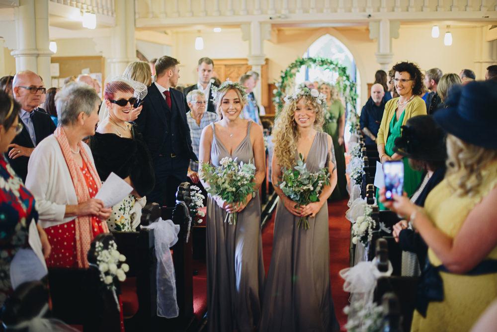 Grey Multiway Bridesmaids Greenery Foliage Bouquet Flower Crown Fairfield Social Club Wedding The Pin Up Bride