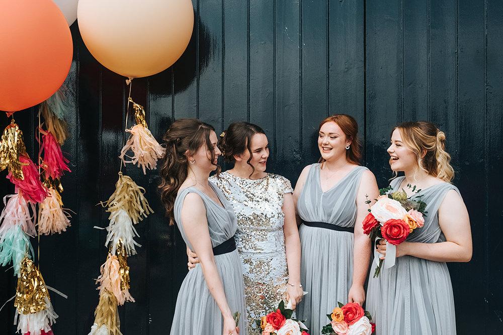 Bridesmaids Bridesmaid Dress Dresses Grey Tassel Balloons Giant Helium Fun London Wedding Miss Gen Photography