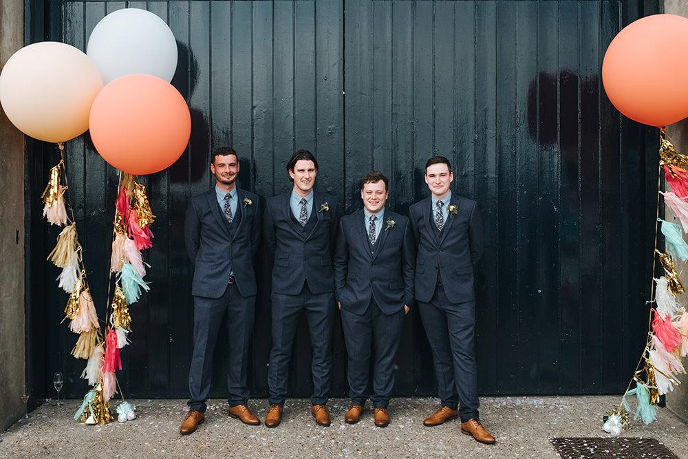 Groomsmen Groom Suit Navy Floral Tie Buttonhole Fun London Wedding Miss Gen Photography