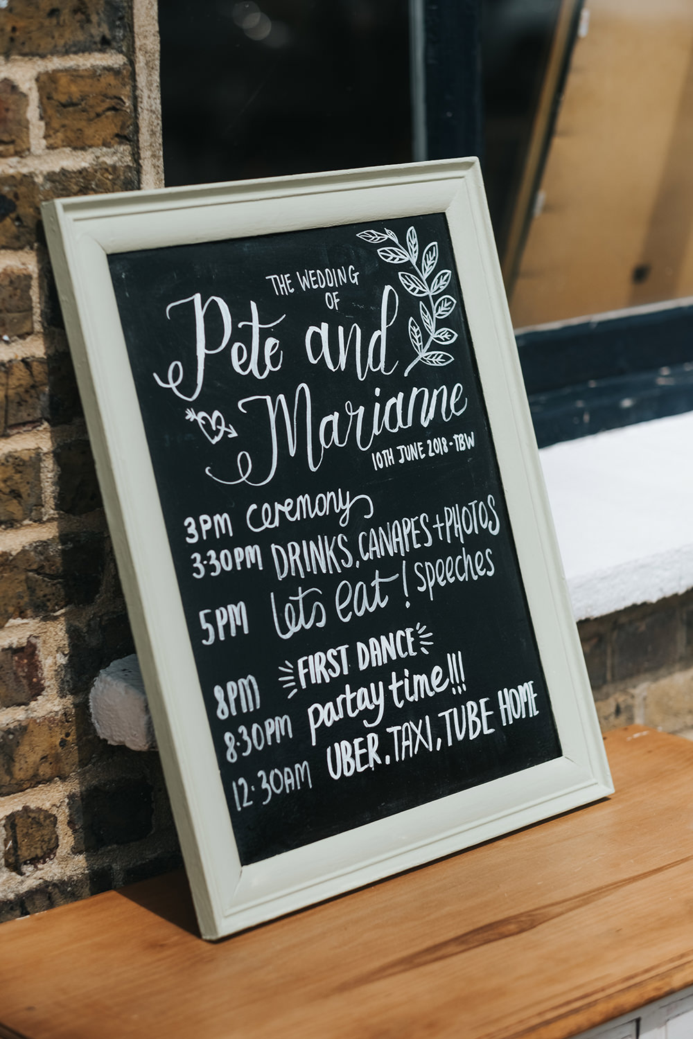 Painted Calligraphy Chalk Black Board Sign Signage Signs Fun London Wedding Miss Gen Photography
