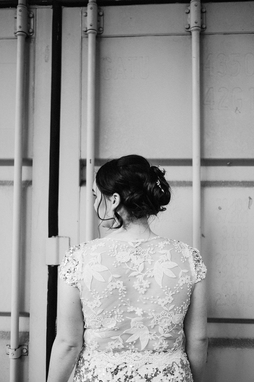 Dress Gown Bride Bridal Sequin Gold Lace Back Fun London Wedding Miss Gen Photography