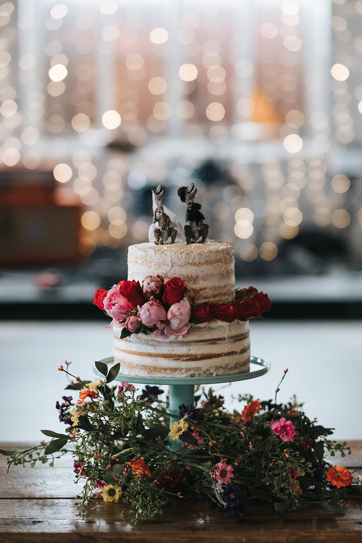 Naked Cake Sponge Layer Flowers Fun London Wedding Miss Gen Photography