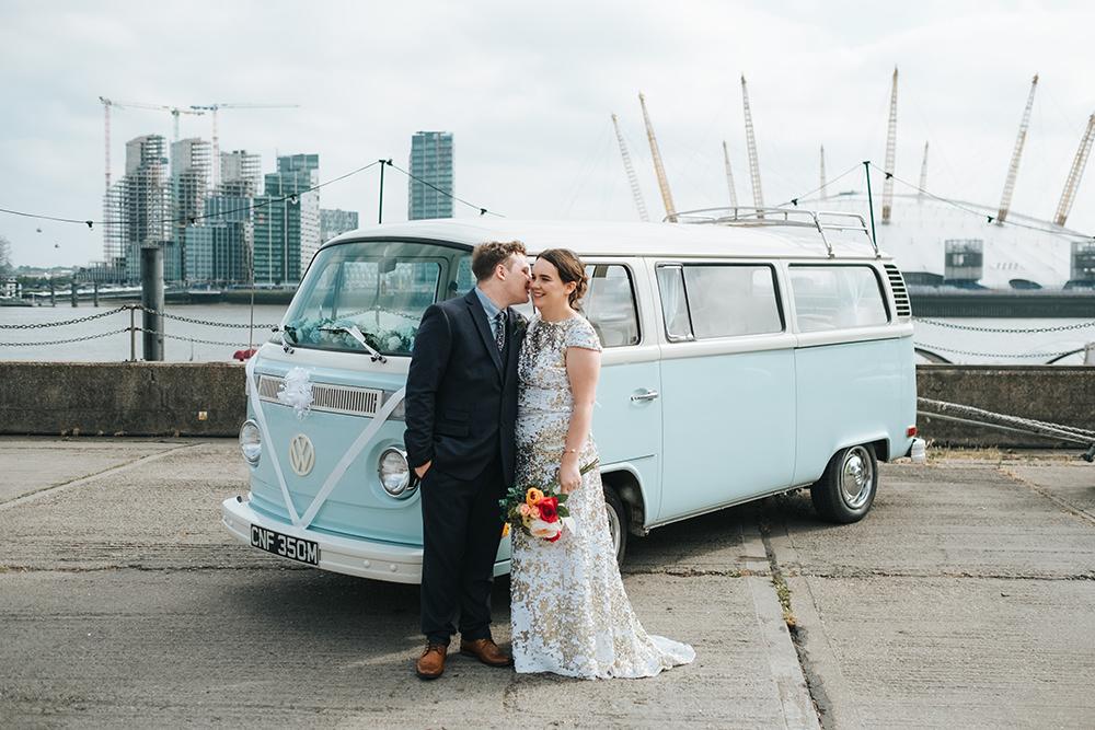 VW Campervan Transport Car Fun London Wedding Miss Gen Photography