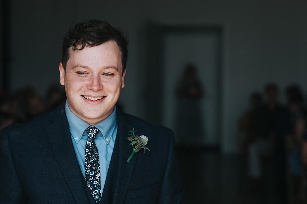 Groom Suit Navy Floral Tie Buttonhole Fun London Wedding Miss Gen Photography
