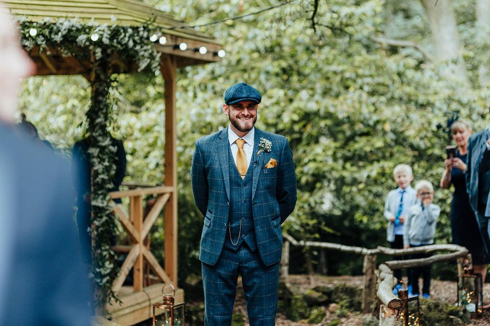Groom Groomsmen Blue Suits Waistcoats Hat Flat Cap Hazlewood Castle Woodland Wedding Nicola Mackrill Photography