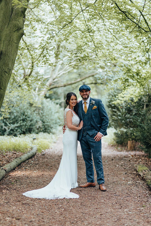 Bride Bridal Dress Gown Wed2B Train Straps Hazlewood Castle Woodland Wedding Nicola Mackrill Photography