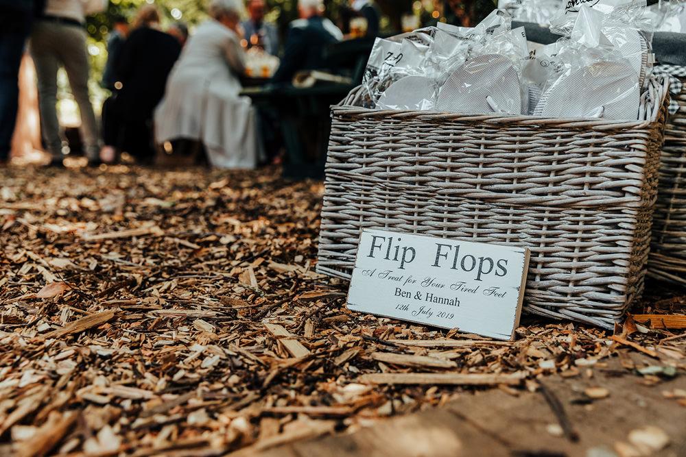 Flip Flops Basket Hazlewood Castle Woodland Wedding Nicola Mackrill Photography