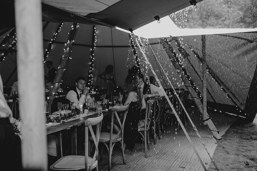 Rainy Rain Tipi Outdoor Hazlewood Castle Woodland Wedding Nicola Mackrill Photography