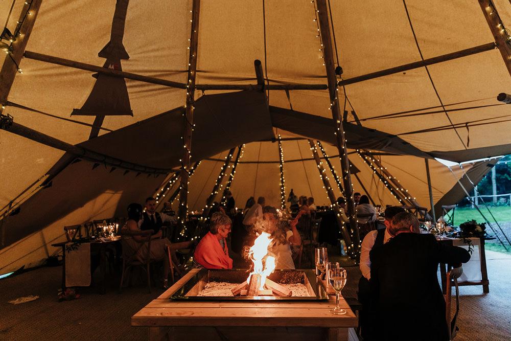 Tipi Firepit Hazlewood Castle Woodland Wedding Nicola Mackrill Photography