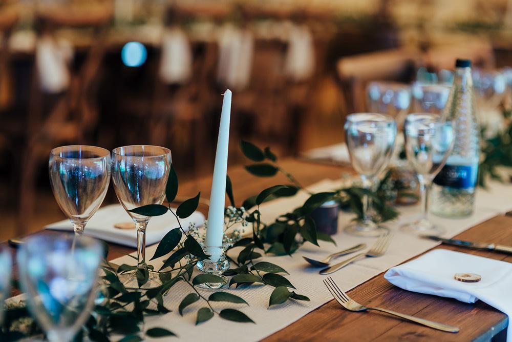 Greenery Foliage Table Runner Garland Linen Candles Hazlewood Castle Woodland Wedding Nicola Mackrill Photography