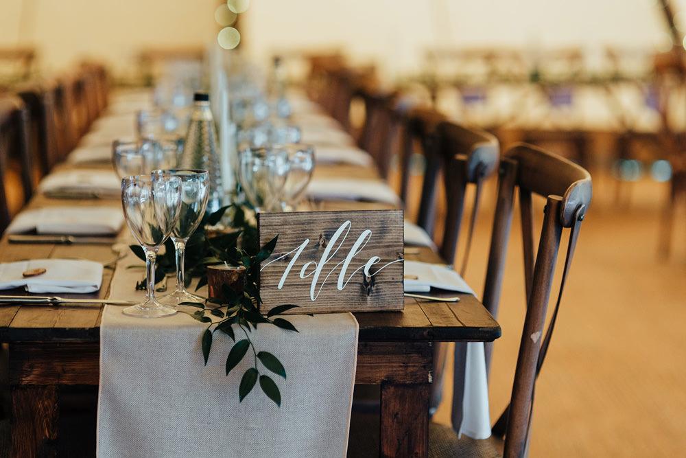 Wooden Calligraphy Table Name Number Hazlewood Castle Woodland Wedding Nicola Mackrill Photography