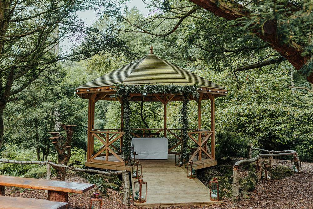 Gazebo Outdoor Ceremony Foliage Greenery Hazlewood Castle Woodland Wedding Nicola Mackrill Photography