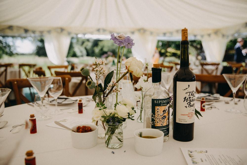Table Flowers Centrepiece Vase Jar Horsebridge Station Wedding Emily Grace Photography
