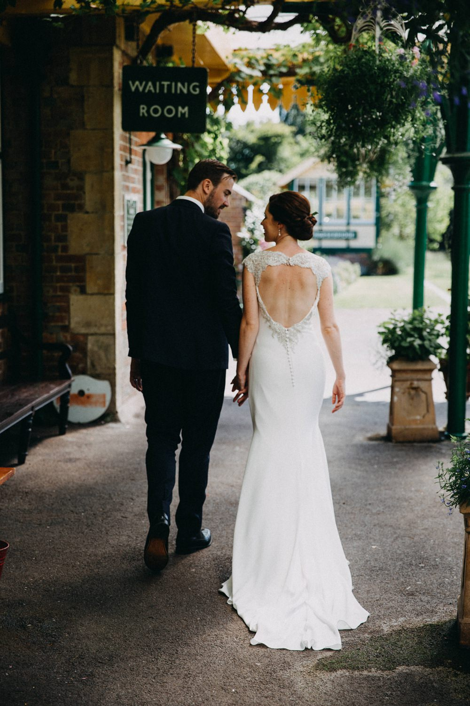 Bride Bridal Dress Gown Straps Fit and Flare Train St Patrick Key Hole Back Horsebridge Station Wedding Emily Grace Photography